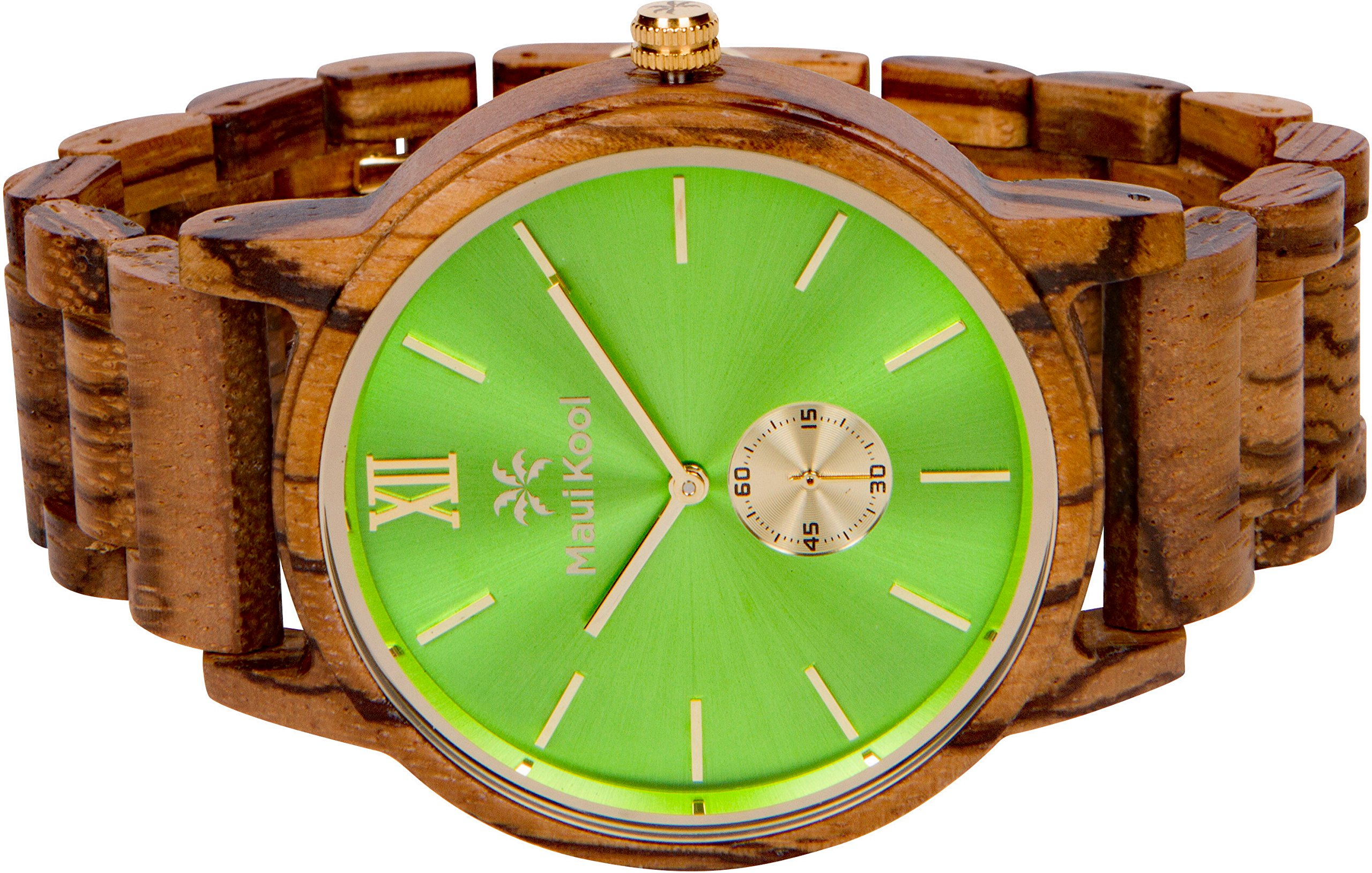Wooden Watch For Men Maui Kool Kaanapali Collection Analog Large Face Wood Watch Bamboo Gift Box (C6 - Green Face) by Maui Kool (Image #3)