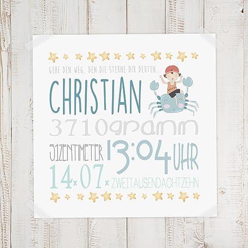Geburtsdaten Wandbild Christian Amazon De Handmade