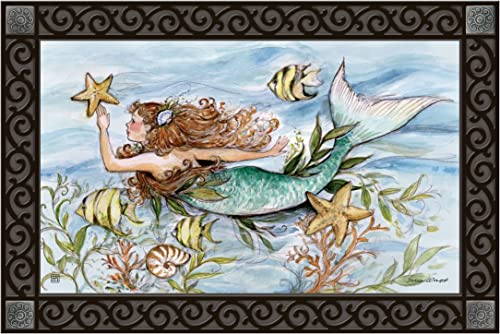 Studio M MatMates Mermaid Song Decorative Floor Mat Indoor or Outdoor Doormat with Eco-Friendly Recycled Rubber Backing, 18 x 30 Inches
