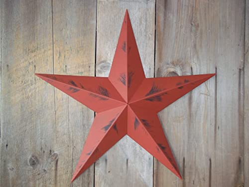 Heavy Duty Metal Star 24 Painted Rustic Barn Red. These Metal Stars Add a Touch of Country to Your Home Decor. You Will Not Be Disappointed with the Quality and Workmanship on These Stars. They Are Handcrafted Out of 22 Gauge Galvanized Steel and Will Not Rust. Add a Barnstar to Your Home Decor Today.