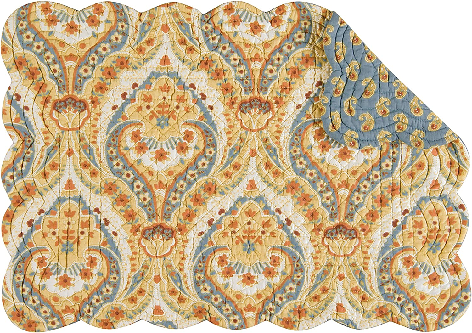 Amazon Com C F Home Mandalay Tan Brown Blue Damask Cotton Quilted Oblong Rectangular Cotton Quilted Cotton Placemat Set Of 6 Rectangular Placemat Set Of 6 Natural Home Kitchen