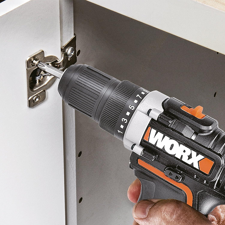 WORX WX128 drill Negro, Naranja 1 kg - Taladro eléctrico (1 cm, 2 cm, 25 Nm, 360 RPM, 1350 RPM, Batería)