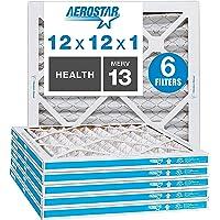 "Aerostar 12x12x1 MERV 13 Pleated Air Filter, AC Furnace Air Filter, 6 Pack (Actual Size: 11 3/4"" x 11 3/4"" x 3/4"")"