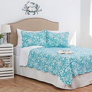 C&F Home Jamaican Breeze Blue Tropical Beach Coastal Floral Full Queen 3 Piece Cotton Cover Machine Washable Reversible Quilt Set Full/Queen 3 Piece Set Seafoam