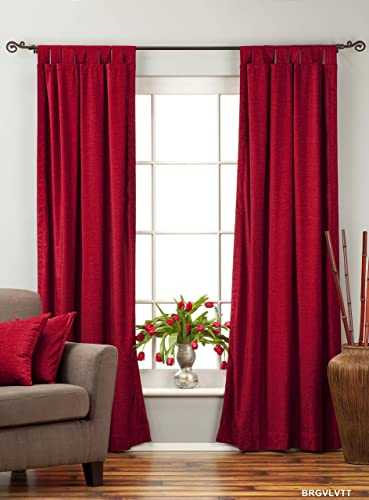 Indian Selections Lined-Burgundy Tab Top Velvet Curtain Drape Panel – 60W x 108L – Piece