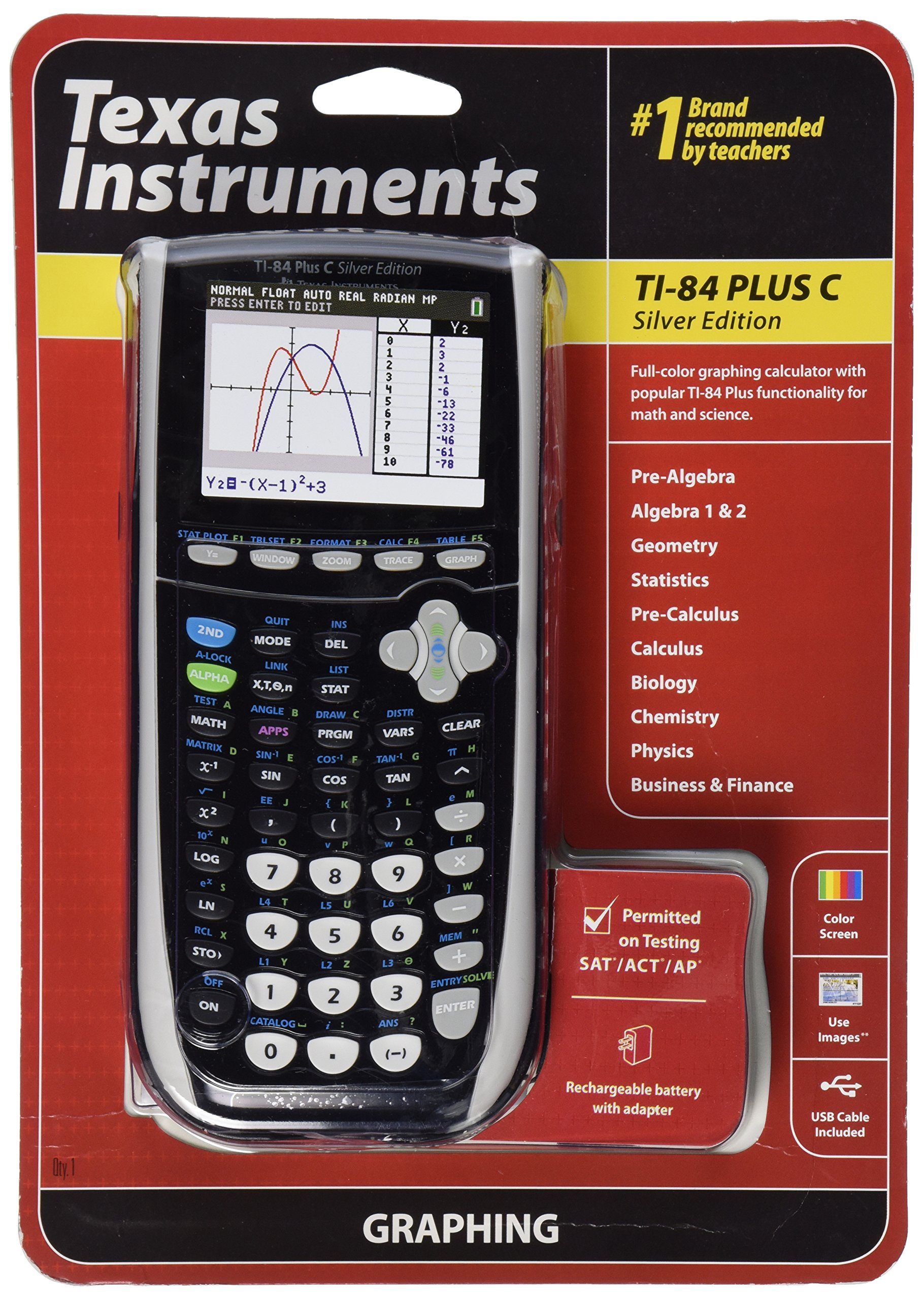 Texas Instruments TI-84 Plus C Silver Edition Graphing Calculator, Black by Texas Instruments