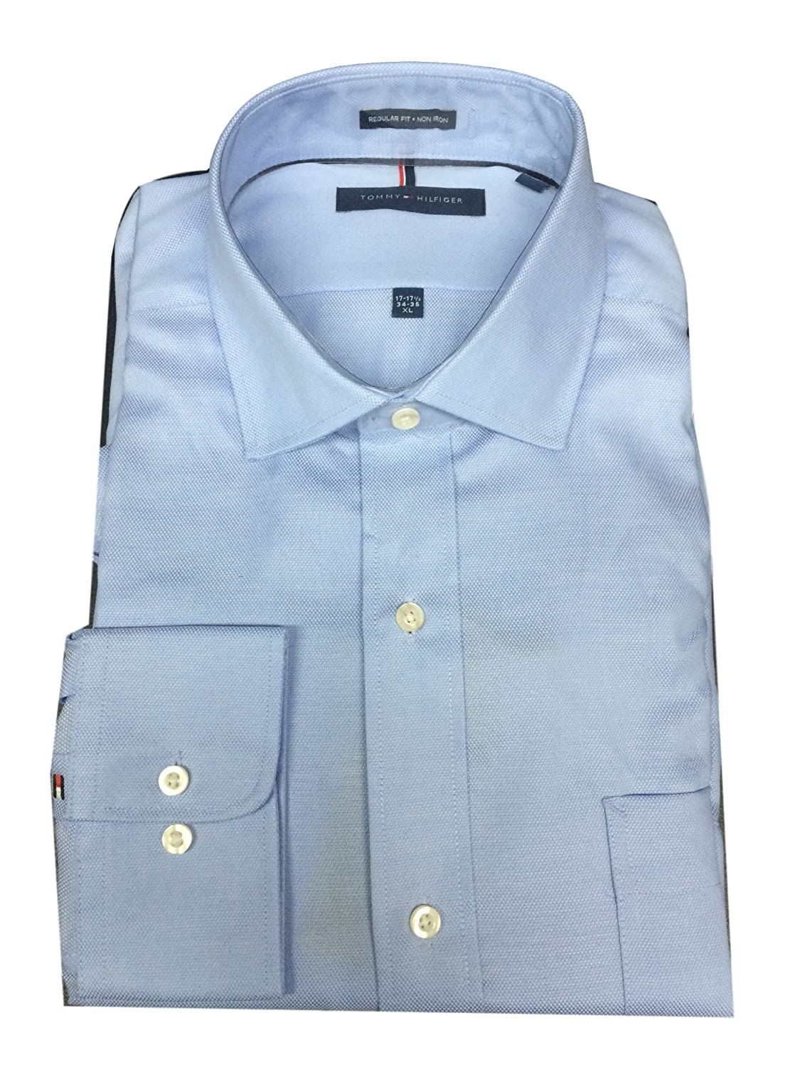Tommy Hilfiger Mens Non Iron Regular Fit Spread Collar Dress Shirt 16-16.5 Neck, 36-37 Arm, Large