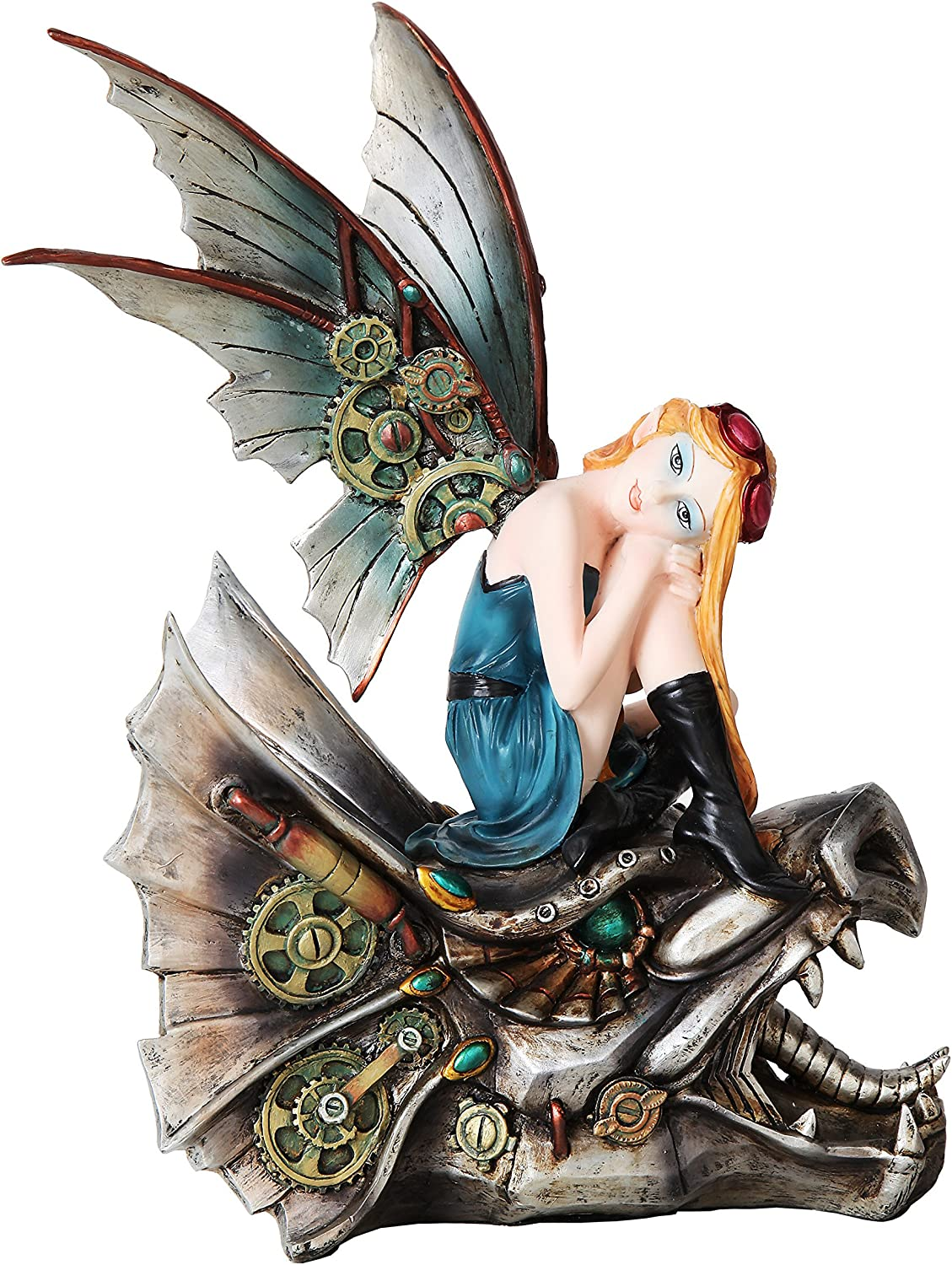 PTC 10.25 Inch Steampunk Mechanical Fairy Sitting on Skull Statue Figurine