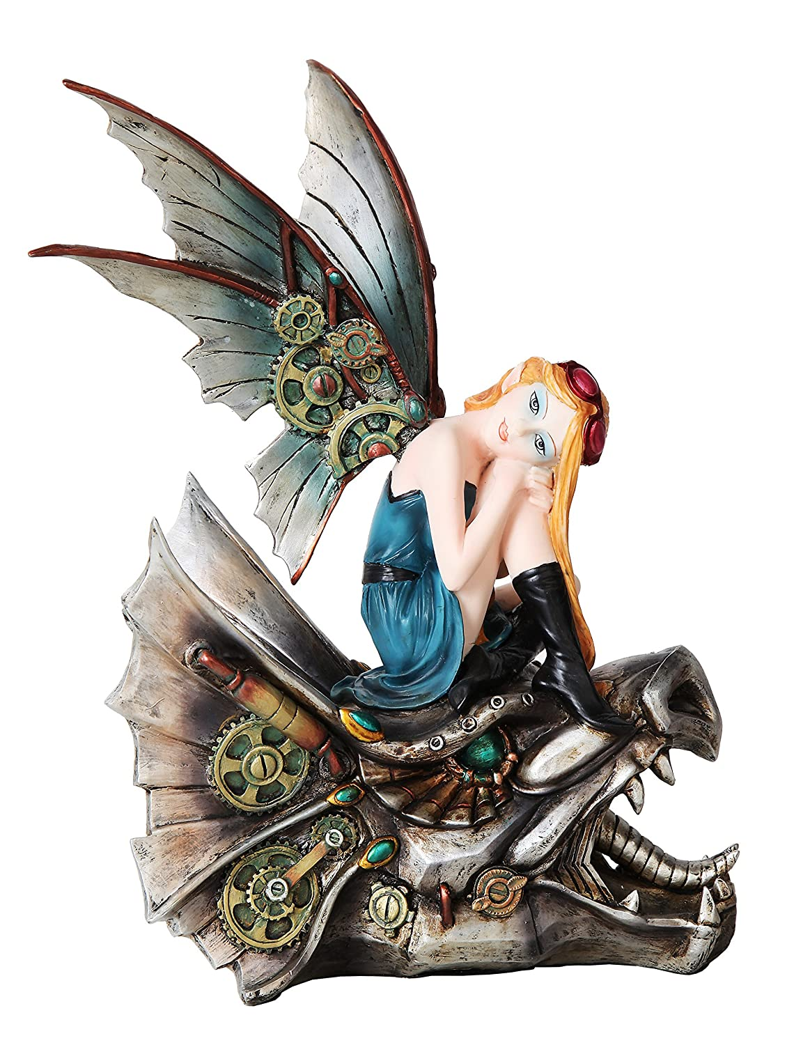 10.25 Inch Steampunk Mechanical Fairy Sitting on Skull Statue