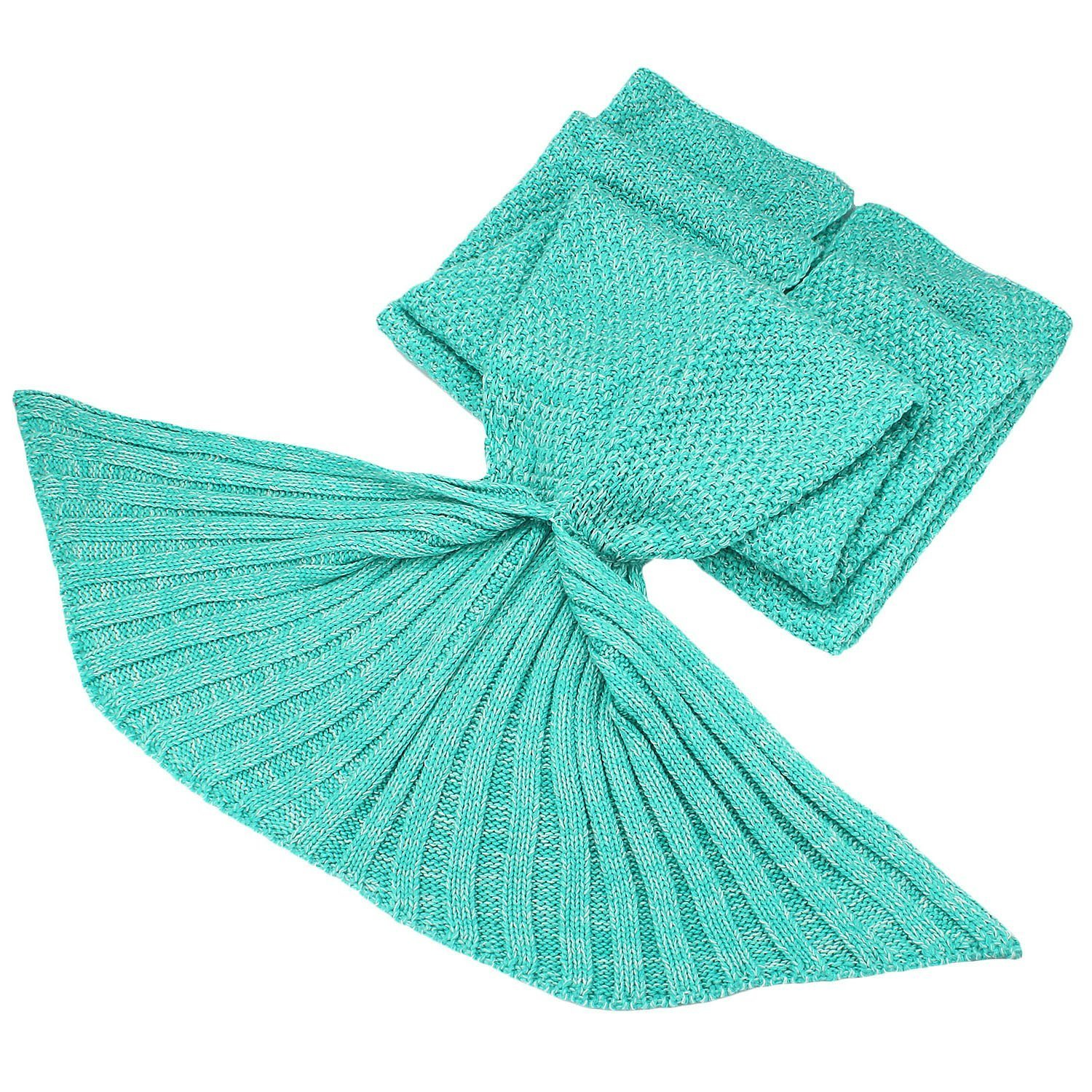 Clearance Sale!!! Mermaid Tail Blanket for Adult Kids Soft HandCrochet Sleeping Bag for Girls Women in Sofa Bed Living Room (Adult, Plain- Mint)