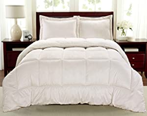 Cathay Home Fashions Reversible Faux Fur and Sherpa 2 Piece Comforter Set, Twin, Ivory