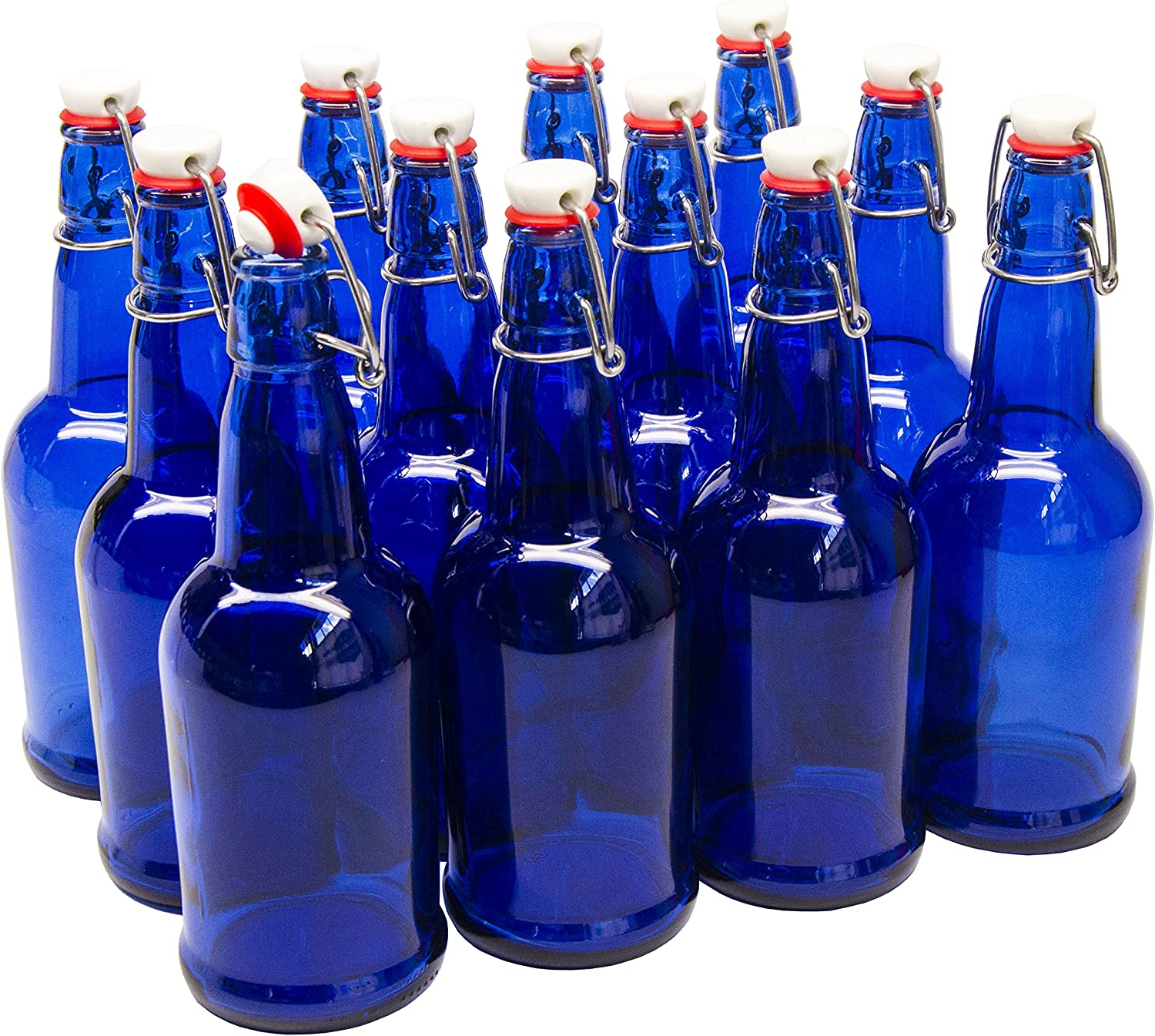 North Mountain Supply 16 oz Cobalt Blue Coated Glass Grolsch-Style Beer Brewing Fermenting Bottles - with Ceramic Swing Top Caps - Case of 12