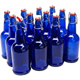 North Mountain Supply Cobalt Blue Coated Glass Grolsch-Style Beer Brewing Fermenting Bottles - With Ceramic Swing Top…