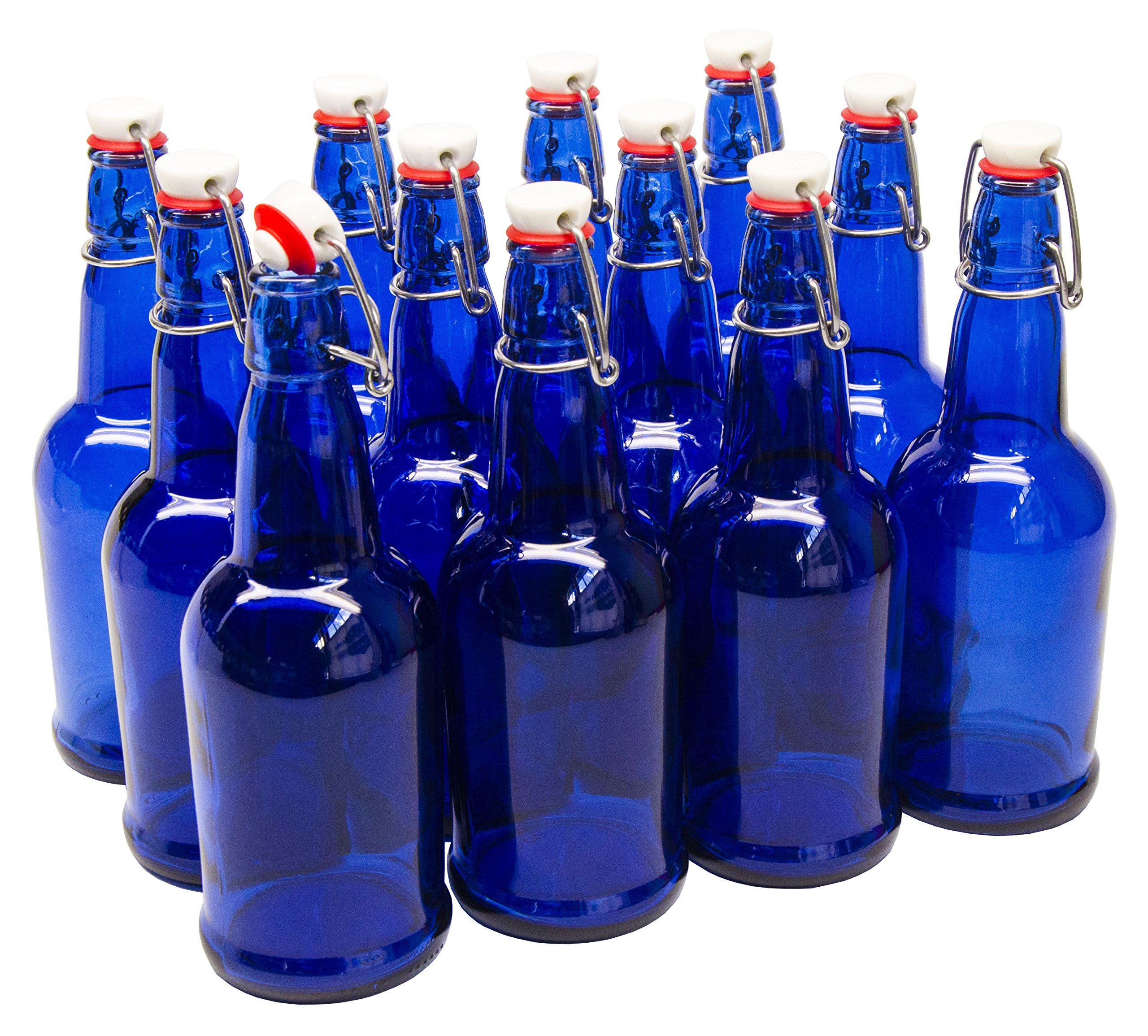 North Mountain Supply - GS-CB Cobalt Blue Coated Glass Grolsch-Style Beer Brewing Fermenting Bottles - With Ceramic Swing Top Caps - Case of 12