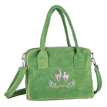 Trachten Handtasche Aus Echtleder 23cm Grun Henkeltasche Amazon