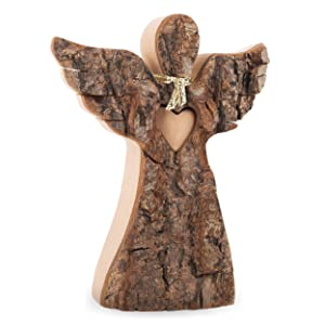 Forest Decor Natural Wood Angel with Wings and Love Heart, Unfinished Bark and Finished Home and Living Room Decoration, Christmas or Holiday Decor, Handmade in Germany