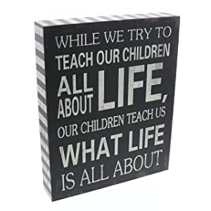 "Barnyard Designs Our Children Teach Us What Life is All About Wooden Box Wall Art Sign, Primitive Country Farmhouse Home Decor Sign with Sayings 10"" x 8"""