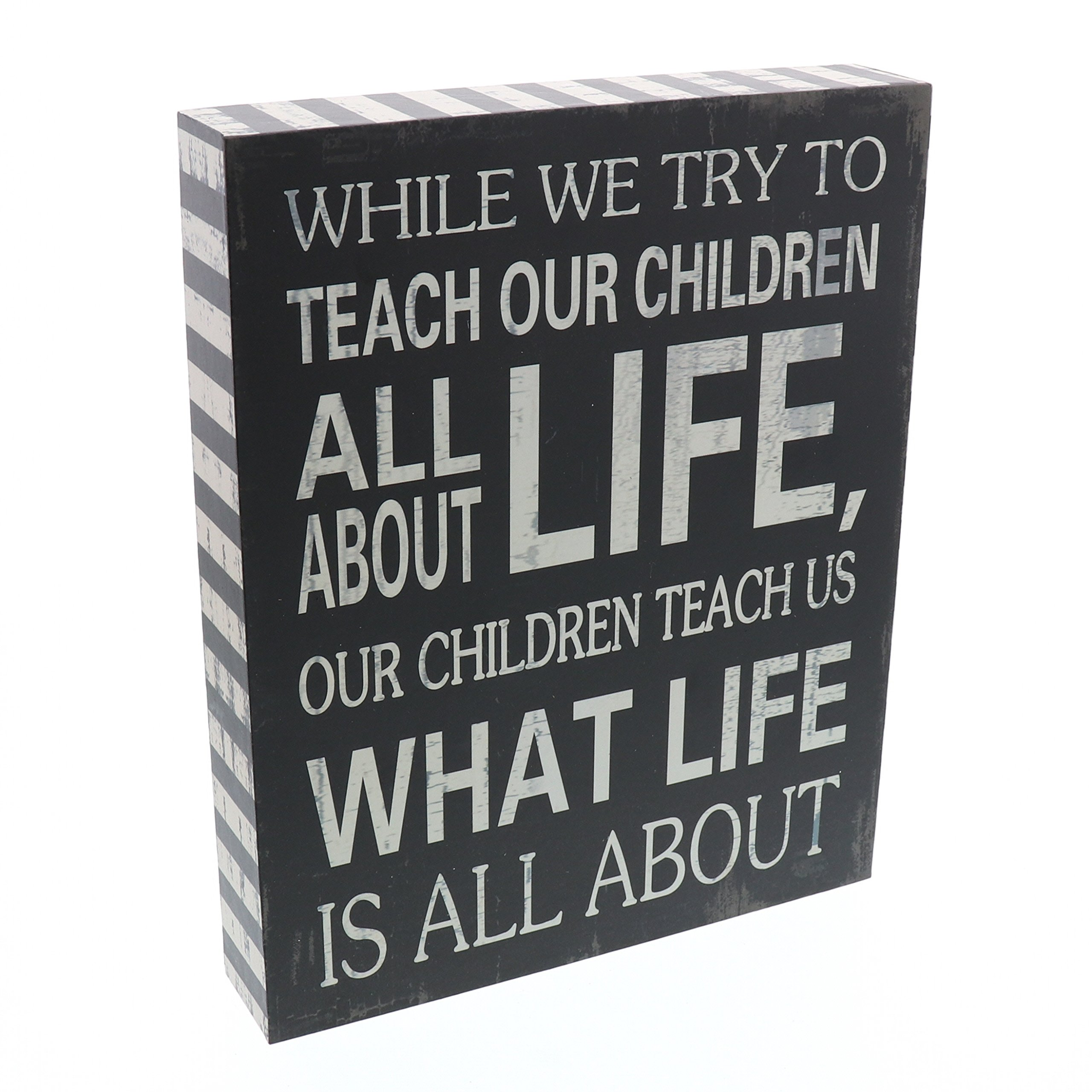 Barnyard Designs Our Children Teach Us What Life Is All About Wooden Box Wall Art Sign, Primitive Country Farmhouse Home Decor Sign With Sayings 10'' x 8''