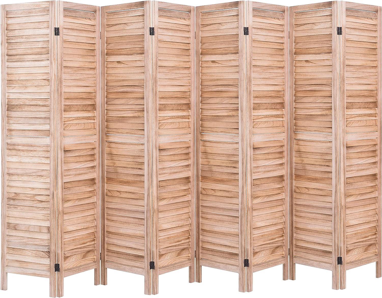 Rose Home Fashion RHF 8 Panel 5.6 Ft Tall Wood Room Divider, Wood Folding Room Divider Screens, Panel Divider&Room Dividers, Room Dividers and Folding Privacy Screens (8 Panel, Nature)
