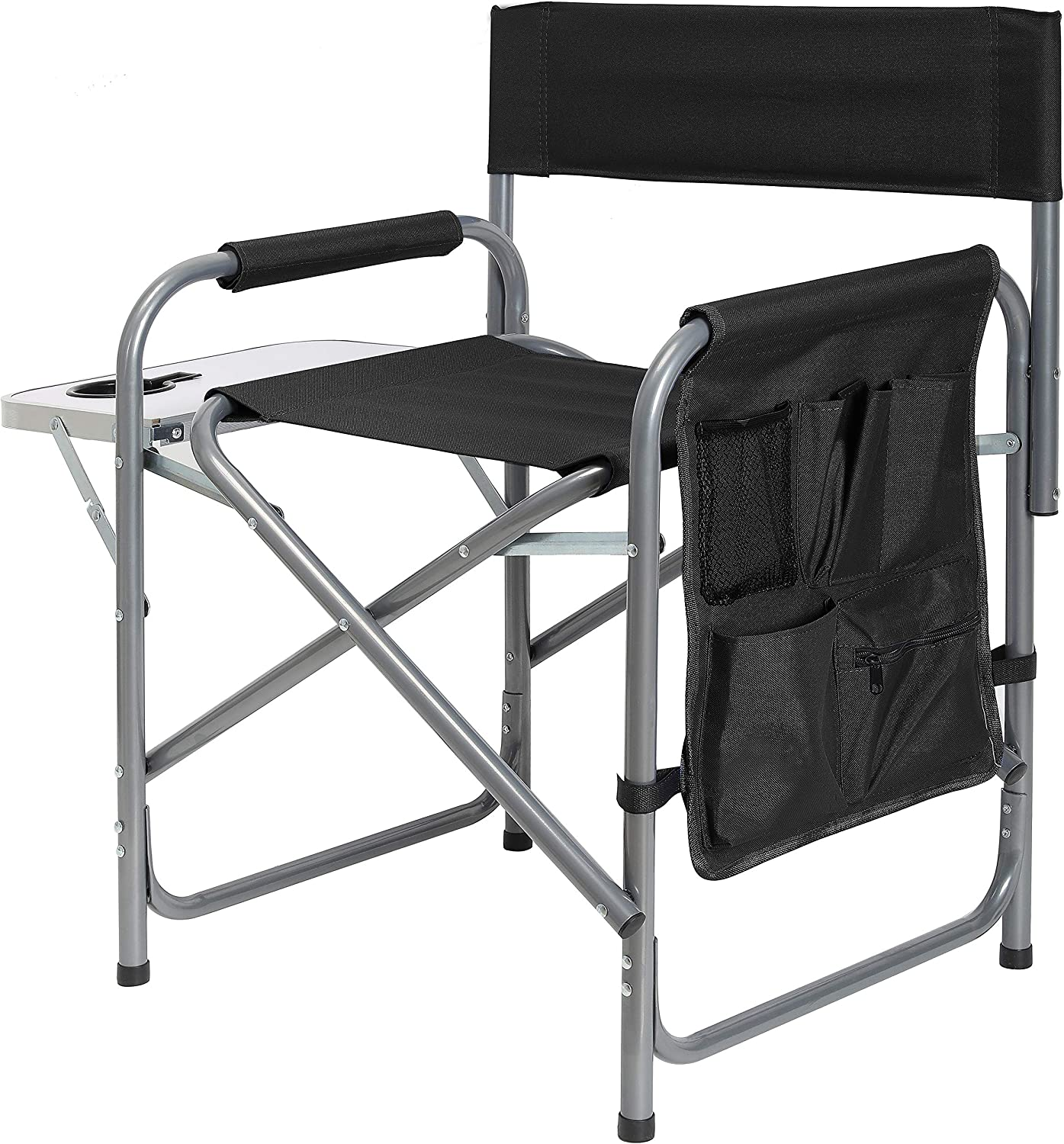 Ubon Steel Frame Portable Director's Chair - Ultra-Wide & Lightweight Seat with Collapsible Side Table & Pockets - Foldable Seat for Camping, Beach, Travel, Sports Games - 300lb Capacity - Dark Black : Sports & Outdoors