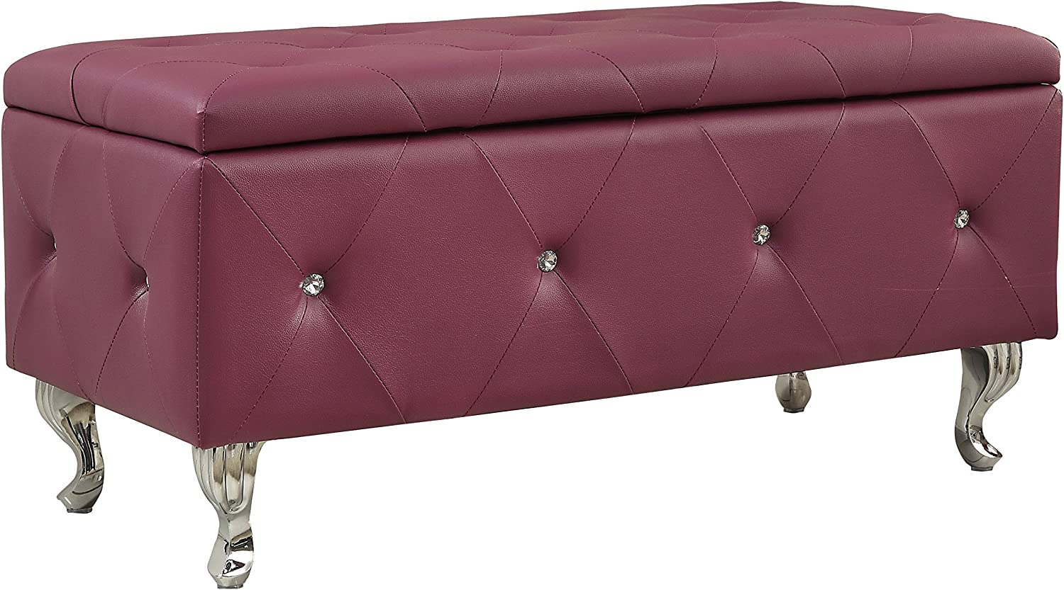 AC Pacific Ultra Modern Leather Bonded Upholstered Storage Bench With Tufting and Crystal Leg Finish, Purple
