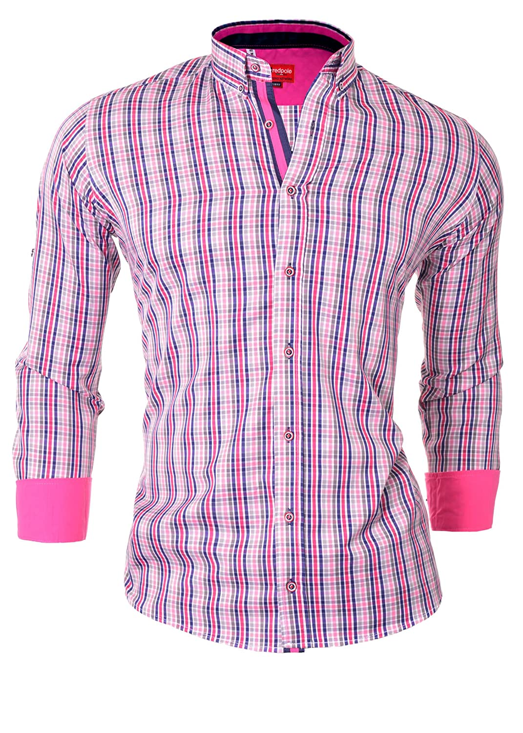 D&R Fashion Men's Shirt with Check Pattern Roll-Up Sleeve and Button Down Collar