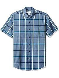 Amazon Essentials Men's Regular-Fit Short-Sleeve Plaid Casual Poplin Shirt