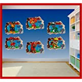 Paw Patrol Set Of 6 Wall Art Hole Printed Vinyl Sticker Decal Childrens  Bedroom (SS40102