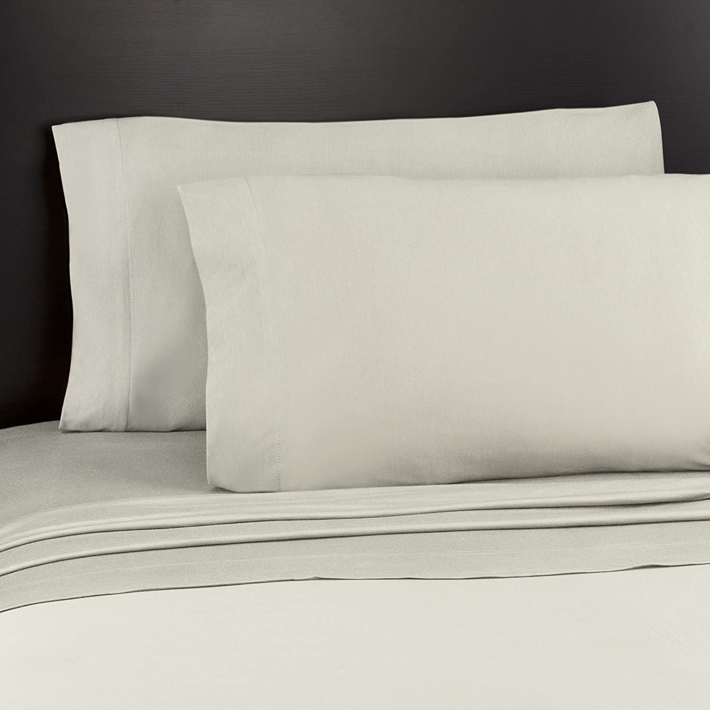 Soft Tees Jersey Knit Sheet Set, Full, Cream Yunus Textiles 9032-091-0259