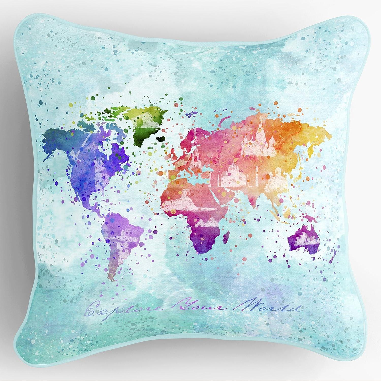 Lume.ly - Colorful World Map Traveler Throw Pillow Cover Case, Unique Luxurious Modern Designer Vibrant Art Decor Home Decoration (20x20, Aqua Blue)