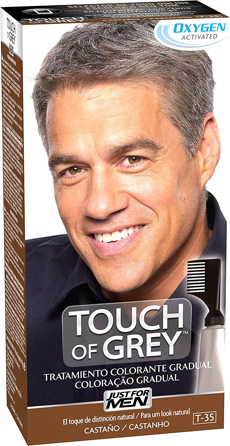 Just For Men, Touch of Grey, Tinte Pelo Reductor de Canas para Hombres, Reduce parcialmente las Canas, Castaño, 40 g
