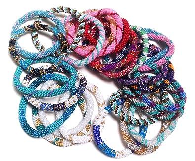 Amazon Com Wigspedia Dozen Handmade Nepal Glass Beaded Bracelets