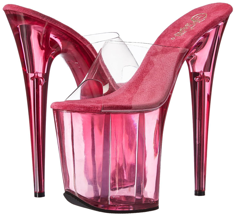 Pleaser Women's Flam801t/c/Pn Platform Sandal B01MQYQJD3 9 B(M) US|Clr/Pink Tinted