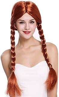 WIG ME UP ® - 90958-ZA131 Peluca Mujer Carnaval Halloween Rojo Largo Trenzas Trenzadas