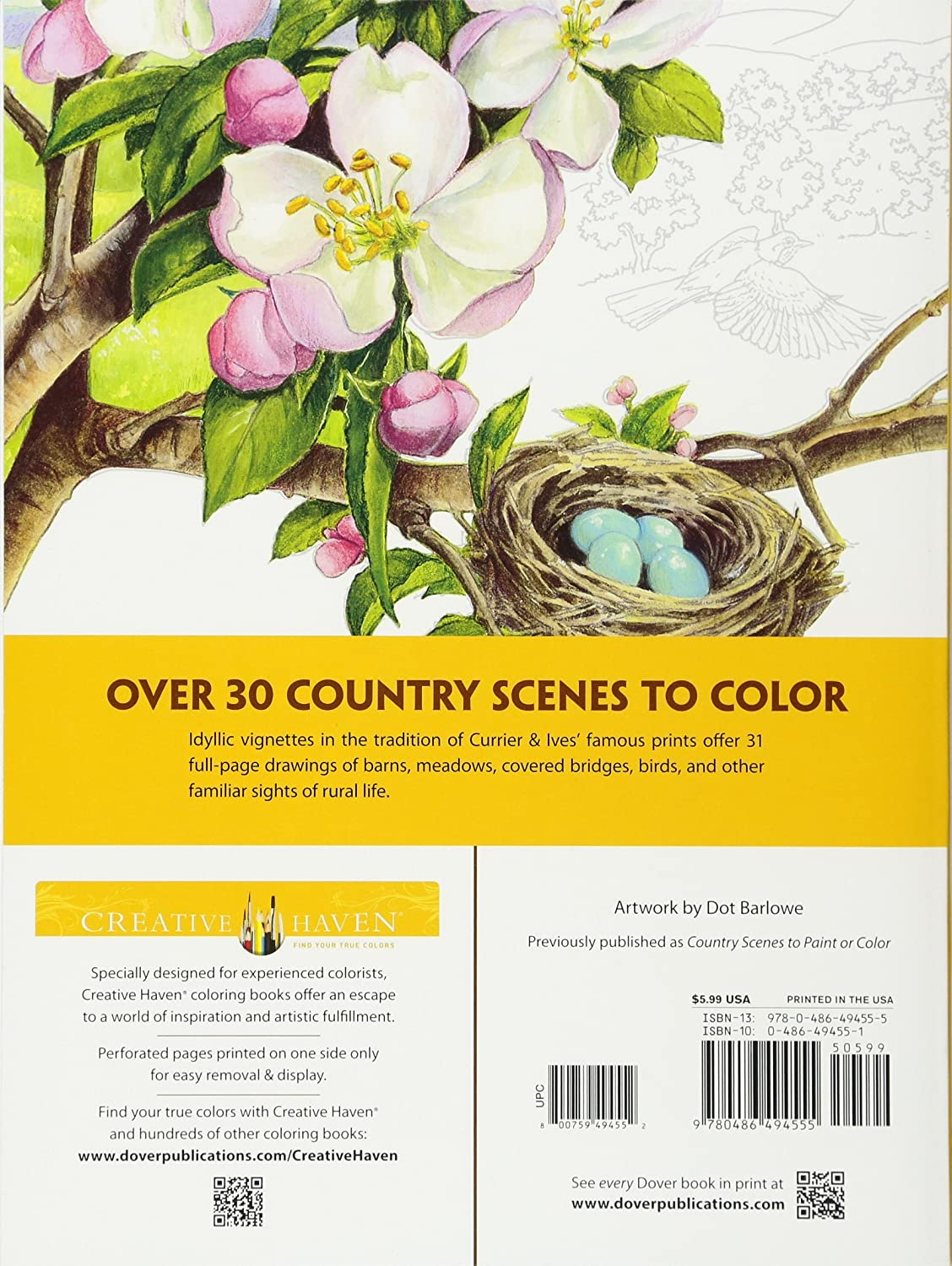 Creative Haven Country Scenes Coloring Book Books Dot Barlowe Amazoncouk Kitchen Home