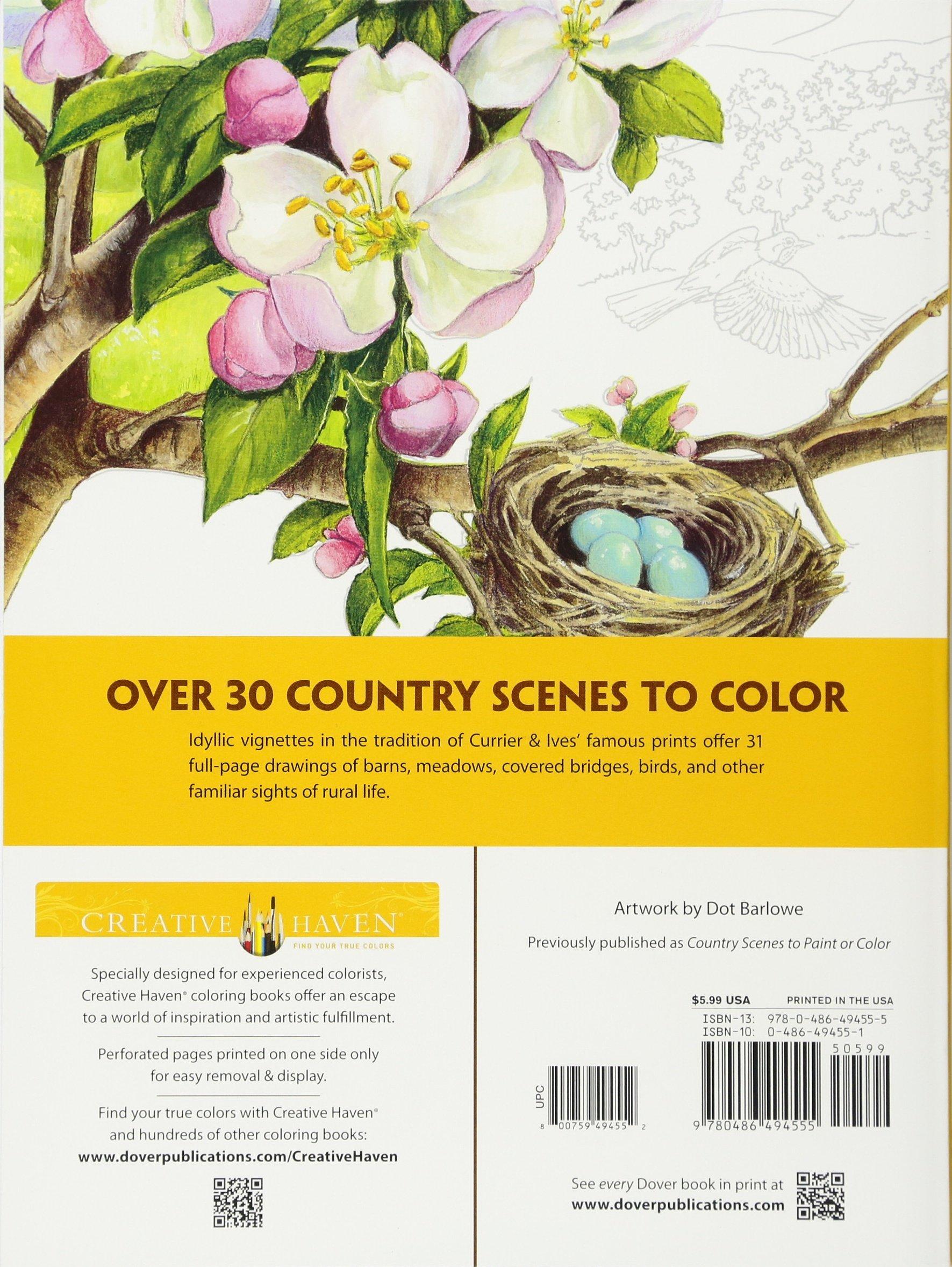 amazon com creative haven country scenes coloring book