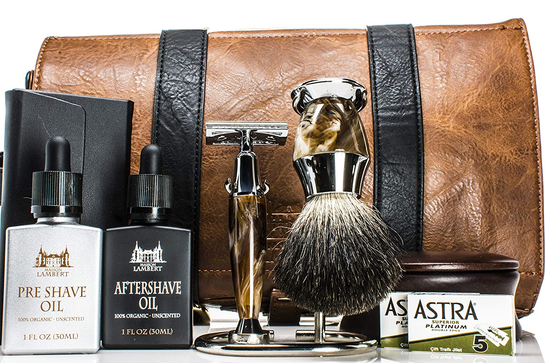 d085e44f279e Amazon.com  Maison Lambert Deluxe Shaving Kit - Shaving Set - Shaving Soap  Kit - Wood Shaving Set - Vintage Shaving Kit - Mens Christmas Gifts - Wood  ...
