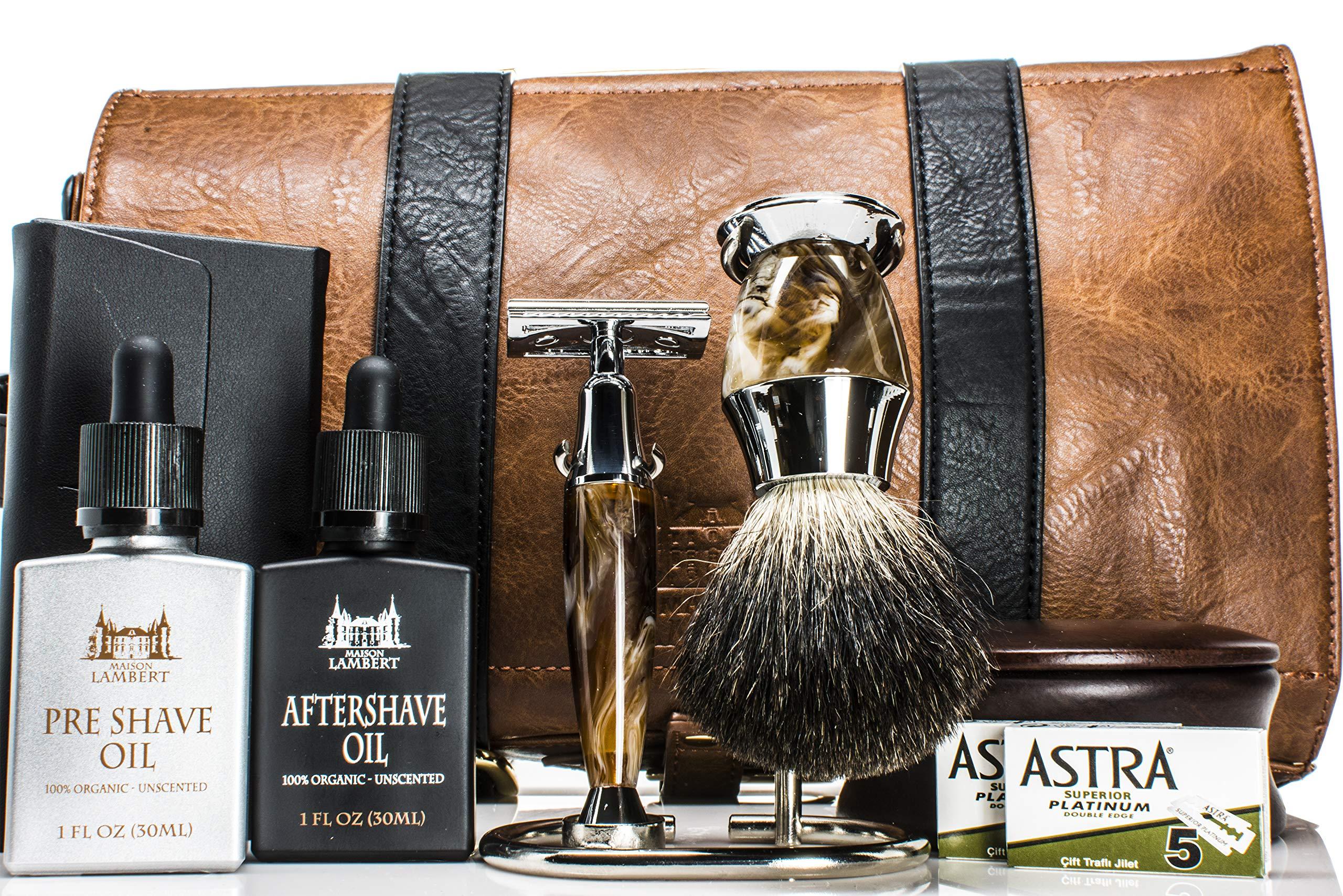Maison Lambert Deluxe Shaving Kit - Shaving Set - Shaving Soap Kit - Wood Shaving Set - Vintage Shaving Kit - Mens Christmas Gifts - Wood Shaving Bowl - Mens Gifts - Gifts for Dad - Gifts by Maison Lambert