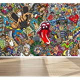 """Wall Mural Graffiti Music collage Street Style, Peel and Stick Repositionable Fabric Wallpaper for Interior Home Decor (118""""w x 78""""h)"""