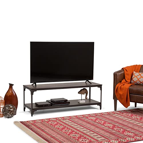 Simpli Home 3AXCNTT-05 Nantucket Solid Mango Wood 54 inch Wide Modern Industrial TV Media Stand in Walnut Brown For TVs up to 60 inches
