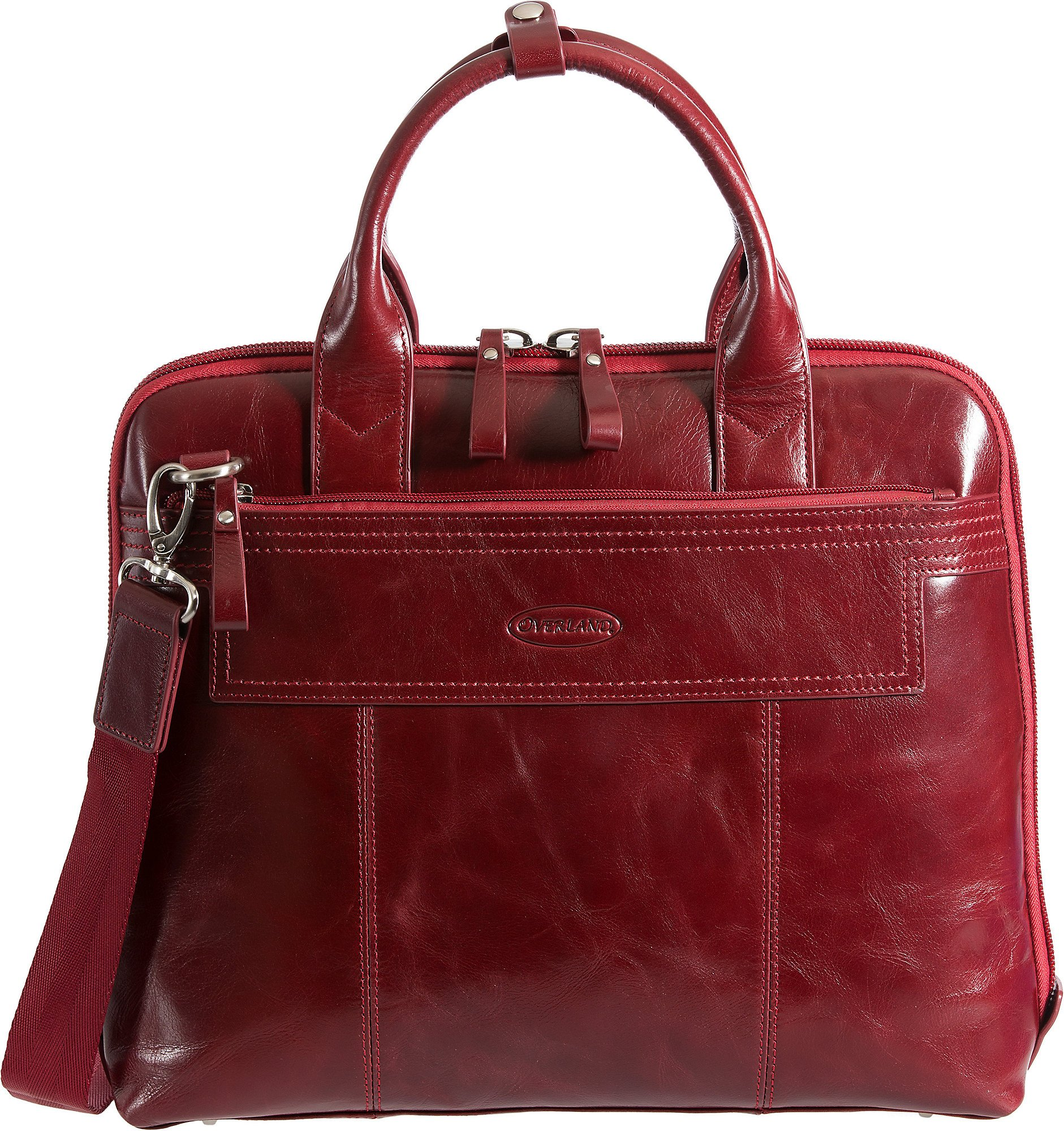 Amber Leather Laptop Briefcase, P30 RED, Size 1 Size