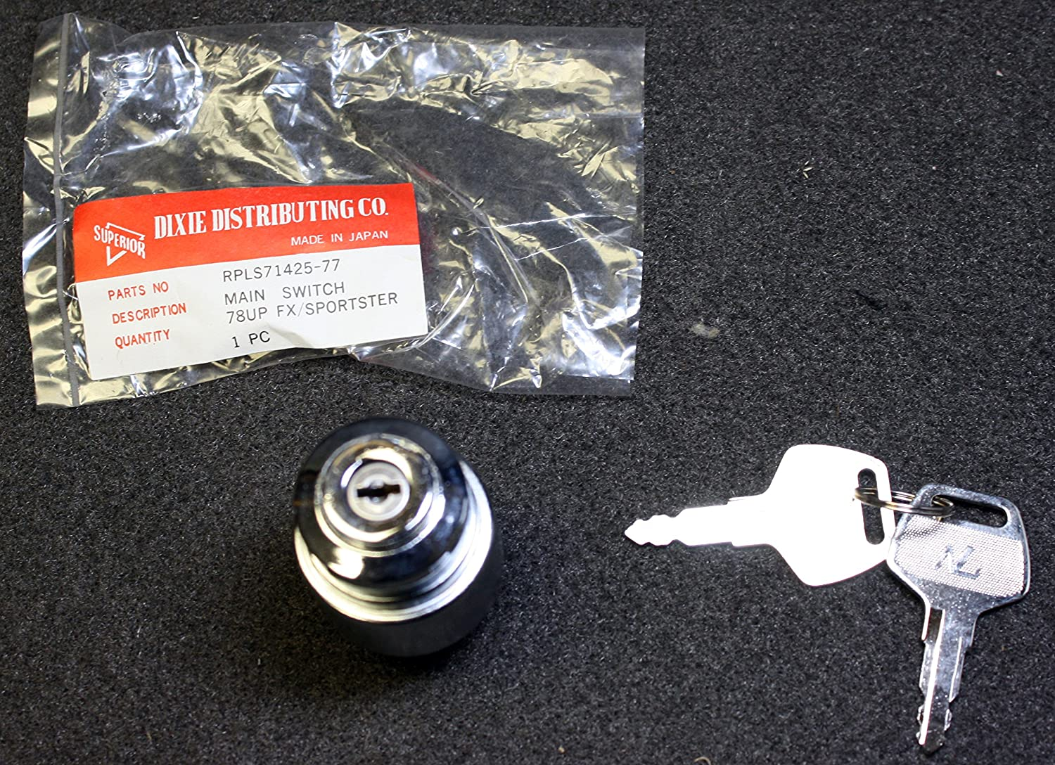 Superior Dixie 71425-77 3 Position Chrome Ignition Main Switch Harley Davidson Dixie Distributing