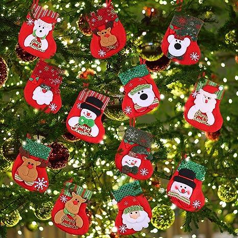 Immagini Piccole Di Natale.12 Pezzi Mini Calze Di Natale Piccole Calze Di Natale Regalo E Trattare Borse Portastoviglie Da Appendere Calze Per Albero Di Natale Casa Giardino