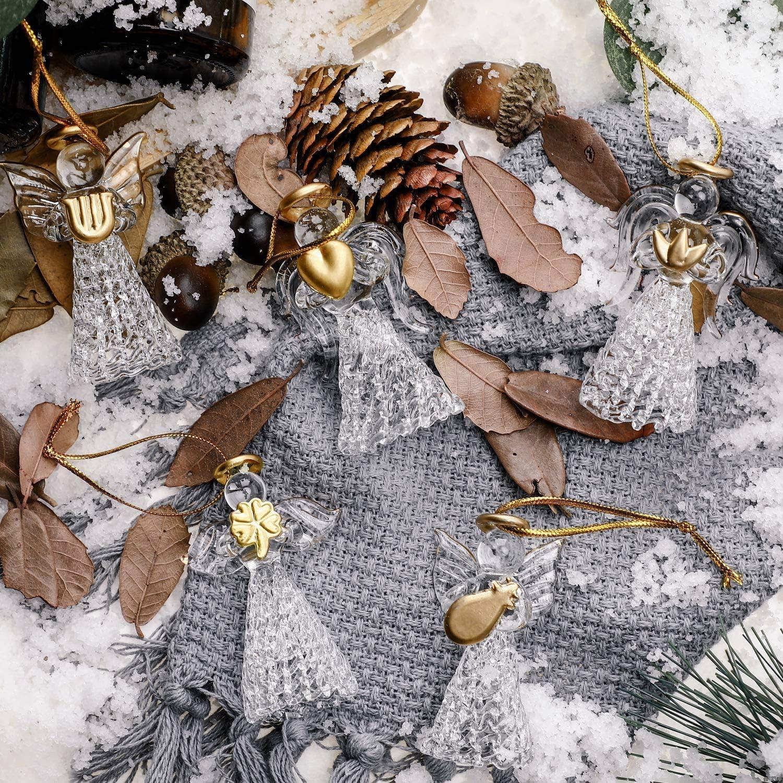 6 Stili Boao 12 Pezzi Ornamenti di Angelo di Natale Mini Angolo di Dimensione Ornamenti Angeli Pendenti in Vetro Trasparente per Decorazioni per Alberi di Natale