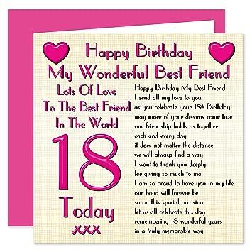 Best Friend 18th Happy Birthday Card