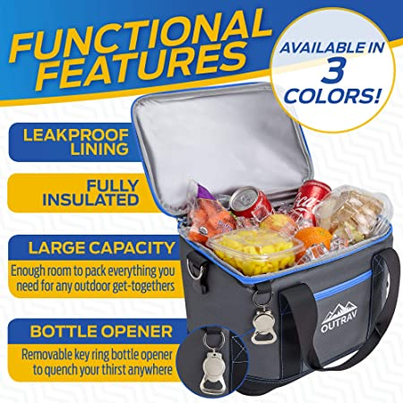 Collapsible Insulated Cooler Bag 6L Thermal Lunch Bag with Bottle Opener, 16 Can Capacity Perfect For Camping, Picnics and Travel – Handles and Removable Shoulder Strap – By Outrav