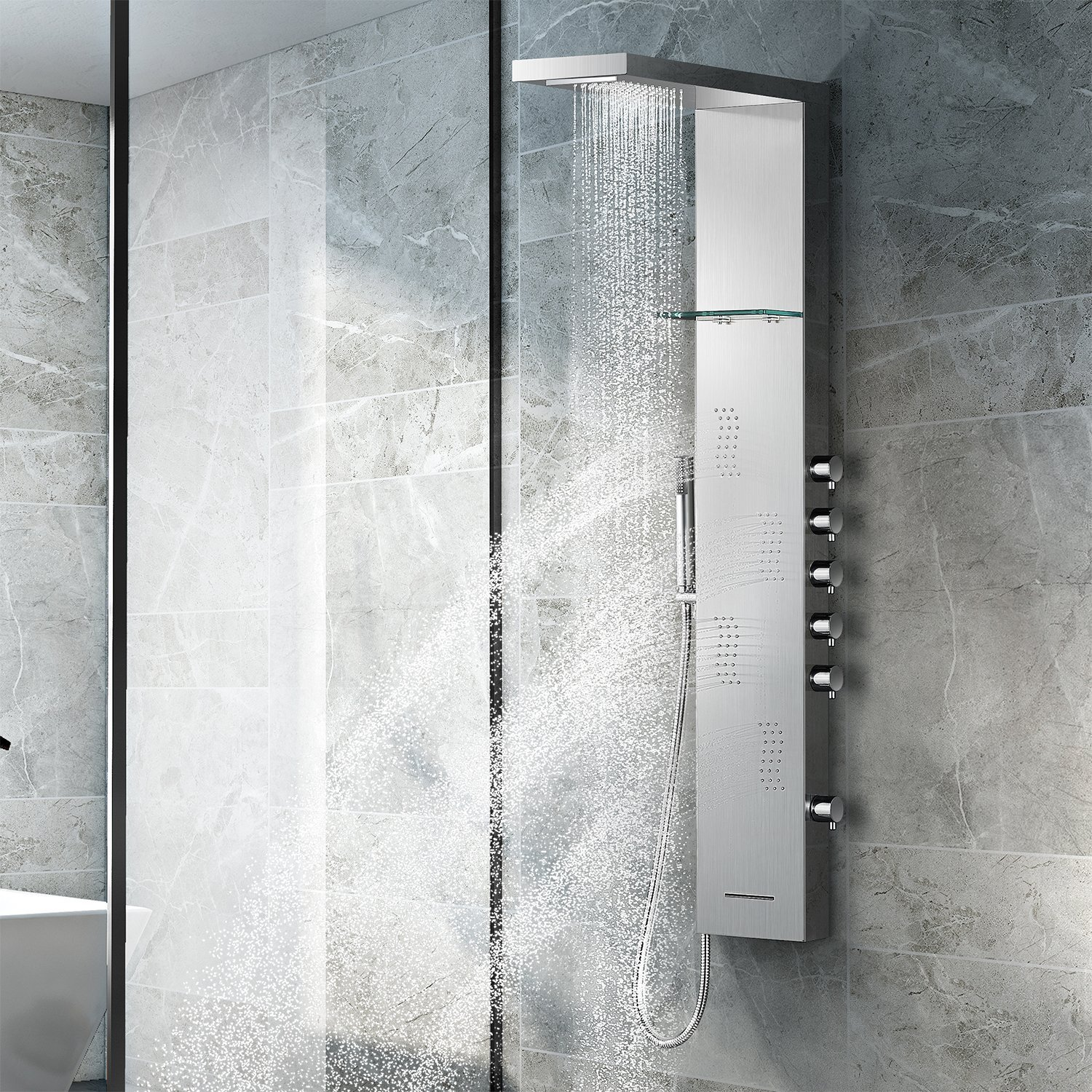 Vantory Shower Panel #304 Stainless Steel Wall Mount Multi-Function Tower Massage Systerm With Body Jets Tub Spout Rainfall Waterfall Showerhead