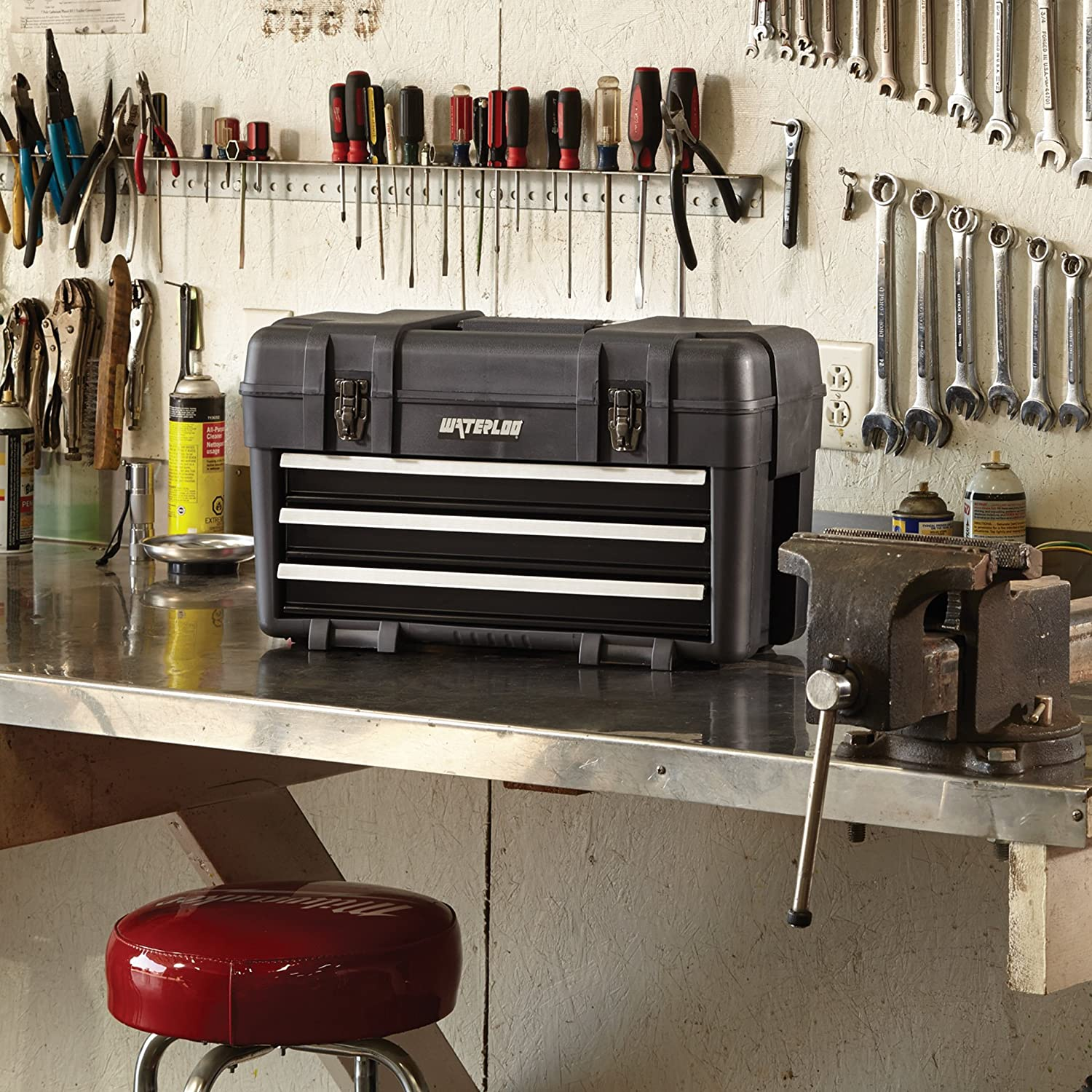Engineered and Assembled in the USA Designed Waterloo 23 Specialty Series Tool Box with 3-Drawers