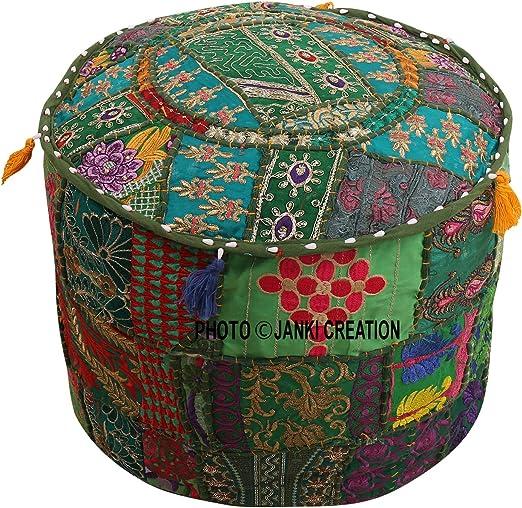 Taburete otomano bordado de algodón con diseño de patchwork, color turquesa, verde, floral, estuche para puf, reposapiés, funda de cojín, decoración étnica, funda para puff (18 x 18 x 13): Amazon.es: Hogar