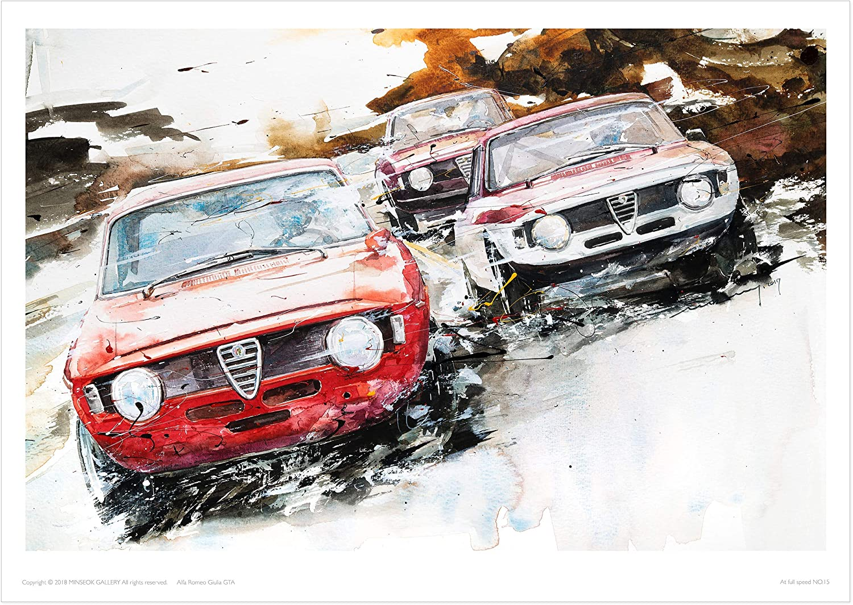 Old Car Poster Print | Premium A3 Art poster (492 x 420mm) | Perfect Car Art Gifts (Alfa Romeo Giulia GTA)